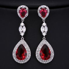 Find More Drop Earrings Information about Cocktail Jewelry Silver Tone Blood Red Teardrop Earrings with Stone Large Cubic Zirconia Marquise Round Post Pear Shape Earrings,High Quality earring sale,China earings big Suppliers, Cheap earrings onyx from Dreamland Dresses & Accessories on Aliexpress.com