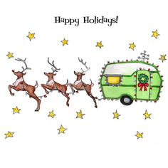 Love this!  Happy holidays trailer greeting card by GlenIllustrates on Etsy, $3.50