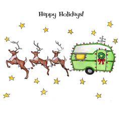Happy holidays trailer greeting card by GlenIllustrates on Etsy… Vintage Christmas, Christmas Cards, Merry Christmas, Christmas Images, Diy Christmas, Christmas Express, Summer Christmas, Christmas Signs, Christmas Stuff
