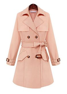 Pink Double Breasted Trench Coat with Belt