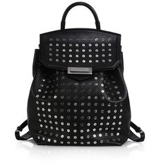 Alexander Wang Prisma Skeletal Studded Leather Backpack (2,038 CAD) ❤ liked on Polyvore featuring bags, backpacks, apparel & accessories, black, military rucksack, flat backpack, black rucksack, studded backpack and knapsack