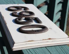 shabby chic house number sign