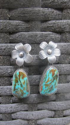 Flora Earrings - Kingman Turquoise and Sterling Flowers