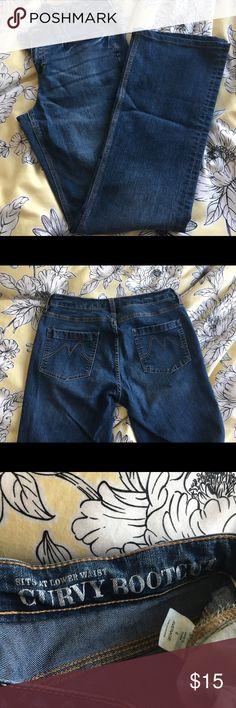 c920a8a9f5358 NY C Bootleg Denim Pants NY C bootleg jeans with low rise and stretch fit.  Yellow seams