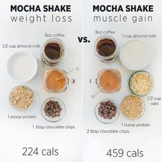Weight loss vs muscle gain protein shake ideas Swipe to see 2 more Whi Weight loss vs muscle gain protein shake ideas Swipe to see 2 more Whi Healthy Smoothies, Healthy Drinks, Healthy Snacks, Healthy Recipes, Healthy Breakfasts, Fruit Smoothies, Clean Eating Snacks, Healthy Eating, Eating Vegan