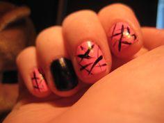 #nails original design by me  Pink: hot topic  Navy: O.P.I Russian Navy  Black: Kiss nail art paint