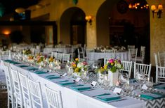 Loving the pops of colour in this tablescape.  Outdoor Modern Wedding: Shannon + Bill