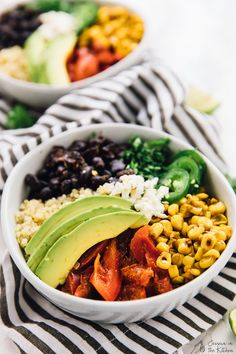 These Mexican Street Corn Burrito Bowls are the healthier, but just as tasty, versions of your favourite burrito! The bowls are drizzled with a creamy and smooth lime crema for a filling and delicious dish that's perfect for meal prep!