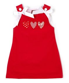Red Heart & Bow Sleeveless Dress - Infant, Toddler & Girls