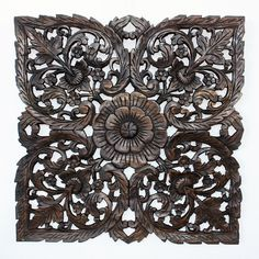 127.99 Black Carved Inlay Square Lotus Panel (Thailand) - Overstock™ Shopping - Top Rated Haussmann Wall Hangings