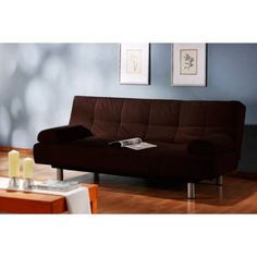 Atherton Home Manhattan Convertible Futon Sofa Bed and Lounger, Multiple Colors, Brown