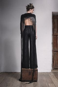 Chiffon trousers & leather top
