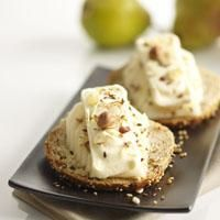 Tartines with Pié d'Angloys, pear and hazelnuts