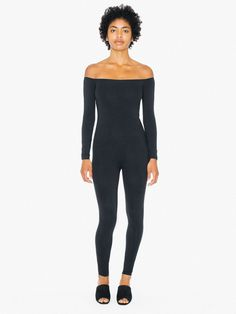 c7e2e01ef05 Cotton Spandex Off-Shoulder Long Sleeve Catsuit