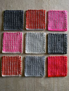 Laura's Loop: Swatches Slip stitches by Barbara Walker: a bit of Woven Stitch and a dash of Linen Stitch and voila, a reversible stripe! Knit pattern.