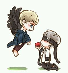 There he was, a beautiful human, my Little human. Blindfolded with nothing but an apple. For me. He'd give me everything he had. And even though I'm a fallen angel, I belong to hell now, I'm up for the bad, I don't want to take his everything. I want to save him
