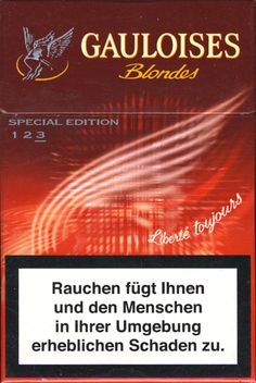 <b>Gauloises - SE Liberte Toujours 2004 AT Limited Edition Rouge 3 - Blondes (German warning, EU2)</b><br><br><i>Sold in</i> Austria <br><i>Made in</i> France in 2004 year <br><i>Producer</i>: Altadis<br><i>Trade Mark Owner</i>: Altadis<br><i>Concentration of nicotin/tar/monoxide</i>: 0,6/7/9<br><i>Size height/width/depth (mm)</i>: 87/57/22<br><i>Open type</i>: Flip-Open<br><i>Condition</i>: 3D-form<br><b>DOUBLES AVALIABLE</b>: NO