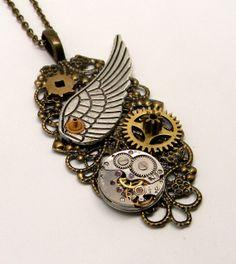 Steampunk jewelry . Steampunk angel wing pendant by slotzkin, $42.00