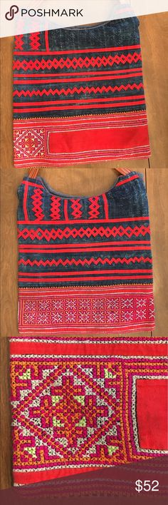 Ethnic from Northern Vietnam-Woven Cotten handbag Straight from the northern hill tribe Hmong in northern Vietnam.   Hand woven cottons. Bright red and denim with hints of orange and pink. Bags Totes