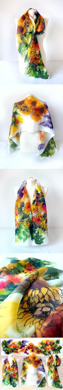 #sunflowers silk #scarf hand painted by #MinkuLUL Luiza #Malinowska