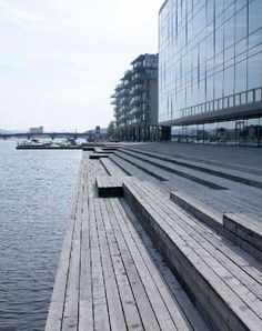 from Waterfront landscape Landscape Stairs, Landscape And Urbanism, Urban Landscape, Landscape Design, Floating Architecture, Water Architecture, Masterplan Architecture, Urban Intervention, Eco City