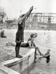 """Starlight Park, the Bronx, circa 1921. """"Joan Desborough (ready for a dive)."""