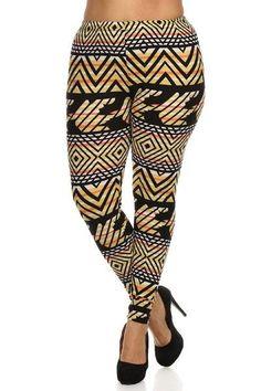 Plus Size Geo Sun Pattern Stretchy Leggings