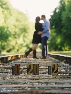 railroad track couple pictures | engagement photos on train tracks | Houston Wedding Photographer