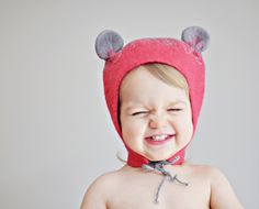 Ready to ship - Baby girl felted wool hat - Happy Ears - Red and Gray / Eco wool / Handmade Mouse Ears Hat / Baby girl / Spring trend.