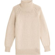 Max Mara Virgin Wool Turtleneck Pullover (€725) ❤ liked on Polyvore featuring tops, sweaters, beige, beige sweater, turtleneck pullover, chunky sweater, chunky turtleneck sweater and pink slip