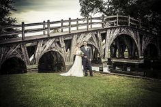 Wedding portrait. Whalehead Club, Corolla, NC. Historic bridge background. {Photo by Terry & Sarah Photography}