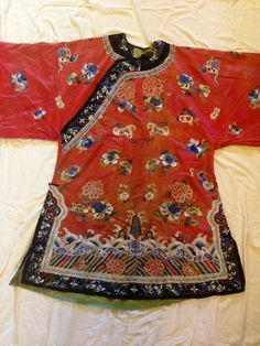 Antique Chinese Silk Embroidered Court Robe from 19th Century