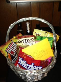 "A ""beer & snacks"" gift basket for my husband's birthday."