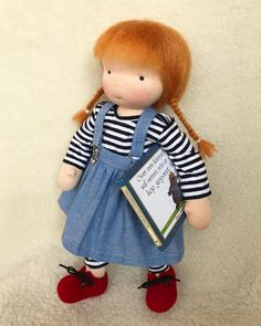 "Audrey wants to read a book! She is a custom doll, for Jacqui. She is the lady who knits the lovely socks and cardigans, for my ""doll boutique"". @jacquelinestinytots"