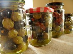 Olives marinated in herbs and spices at home