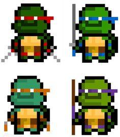 Piskel Art, Perler Bead Art, Sprites, 8 Bit, Teenage Mutant Ninja Turtles, Low Poly, Tmnt, Game Design, Minecraft