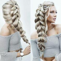 Trança lateral em cabelo platinado. Side braid, platinum hair  Pinterest: @framboesablog
