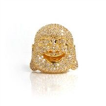 Bryan the Buddha - Cubic Zirconia Encrusted with 18K Gold Plated Brass by nOir Jewelry