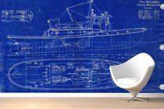 Blueprint Boat Wall Mural