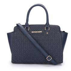 Michael Kors Selma Monogram Saffiano Large Navy Totes is on promotion, don't loss the chance. #WhatsInYourKors #CelebrateWith