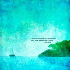Nautical poster print  photograph John Lennon quote blue boat landscape seashore turquoise office home wall art 11x11. $34.90, via Etsy.