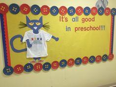 Pete the Cat bulletin board!  Preschool 2015