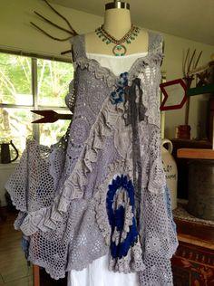 Luv Lucy Crochet Dress Gypsy Storm boho shabby by LuvLucyArtToWear, $350.00