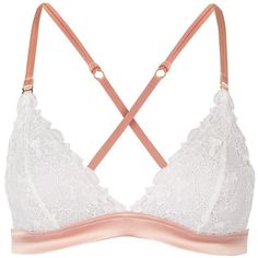 Lace Triangle Bra by Topshop Bride ($26) ❤ liked on Polyvore featuring intimates, bras, ivory, topshop bras, triangle bras, bridal bra, lace bra and lace triangle bra