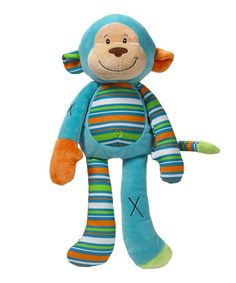 3 day SALE What a Zoo: Baby Apparel & Accessories  Teal Stripe Monkey Plush Toy by GANZ ~ $8.99 Reg. $16.00