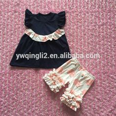5517369bdd9a wholesale icing cotton ruffle pig shorts outfit girls ruffle sets shirt shorts  baby boutique clothing