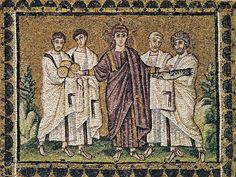 Miracle of the loaves and fishes, mosaic from the top register of the nave wall of Saint Apollinare Nuovo, Ravenna, Italy, 504
