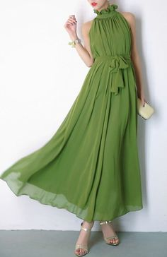Grass Green chiffon dress maxi dress long by PerfectChlothing, $39.99