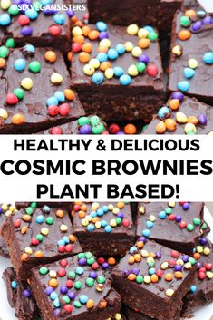 Easiest and most delicious vegan cosmic brownies! You won't believe they are healthy!