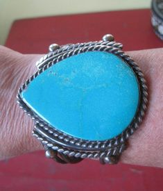 Old Pawn Vintage Navajo Native Sterling Silver Turquoise Cuff Bracelet 103 gms